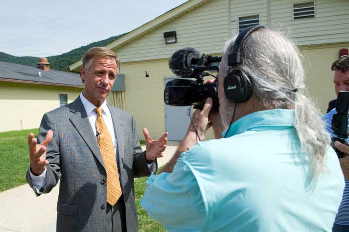 Governor Bill Haslam is interviewed by Outcasts director Stephen Newton